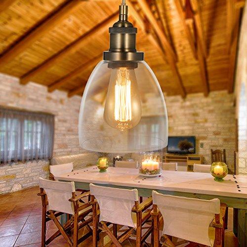 Tomshine lamapada a sospensione industriale vintage edison da soffitto luce retro interni lampadario attacco e27 plafoniera in vetro [classe di efficienza energetica a+]