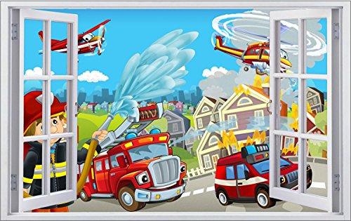 feuerwehr wandsticker Feuerwehr Stadt Feuer Kinder Wandtattoo Wandsticker Wandaufkleber F0867 Größe 70 cm x 110 cm