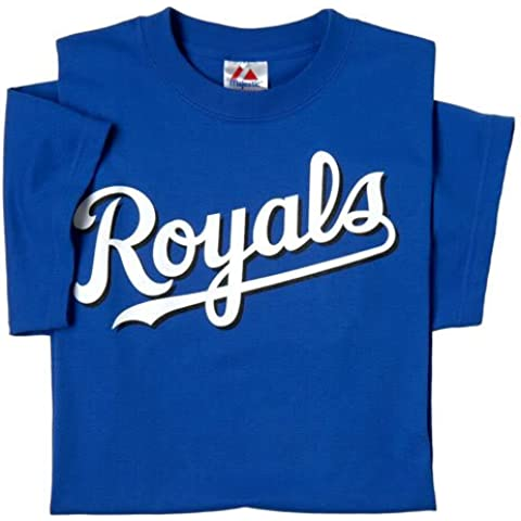 Kansas City Royals (YOUTH LARGE) 100% Cotton Crewneck MLB Officially Licensed Majestic Major League Baseball Replica T-Shirt Jersey by Majestic Athletic