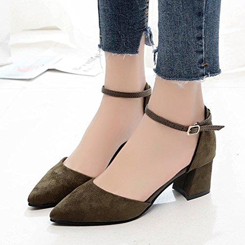 RUGAI-UE Sandales femme Chaussures fait Chaussures Boucle de mode d'été Green