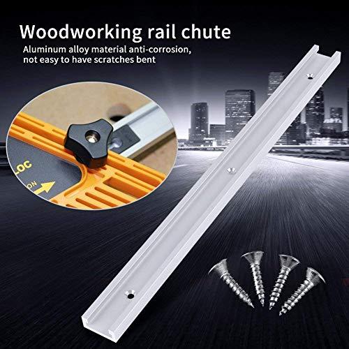 1 morceau 400mm T-Slot Piste en Alliage d'Aluminium T-Track avec 4pcs Auto-ruban Vis pour Scie à Table de Bois ou de Routeur (rail T)