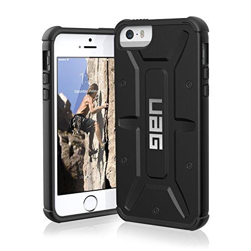 Urban Armor Gear Schutzhülle nach US-Militärstandard für Apple iPhone SE/5S/5 - schwarz [Verstärkte Ecken | Sturzfest | Antistatisch Vergrößerte Tasten] - UAG-IPH5-BLK/BLK-W/SCRN-VP (Iphone 5 Fall Urban)
