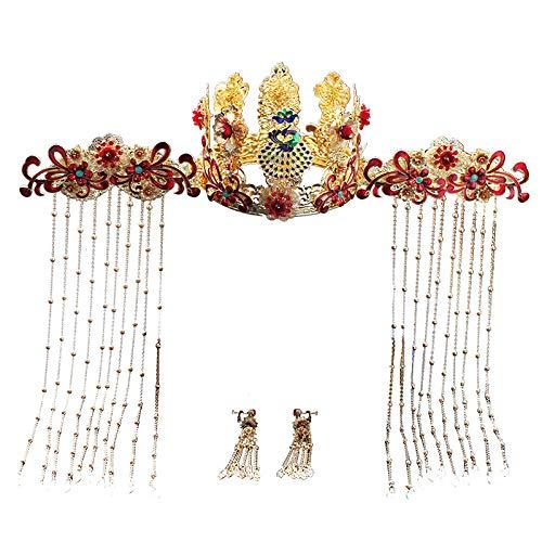 MYYQ Chinesische antike Phoenix Krone wo passen Kopfbedeckungen Gold Fransen Toast Kleid Haar Schmuck 11 cm * 9 cm,