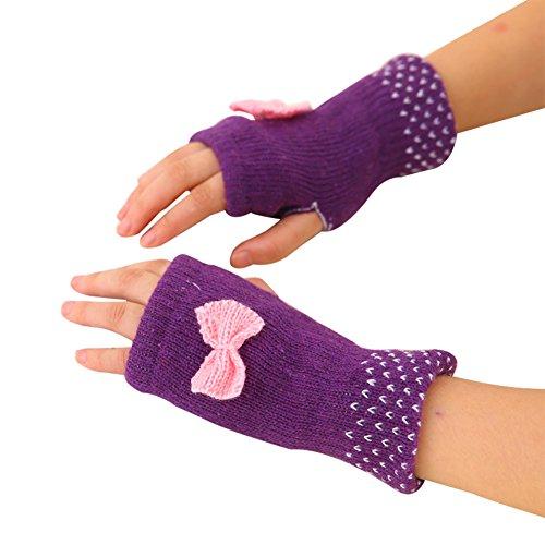Hosaire Hiver Gants Femme Doux Tricoté Gants Mignonne Papillon Noeud Anti-Froid Chaud Crochet Mitaine sans Doigts Type Violet