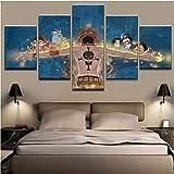 JRDWLH Stampe e Quadri su Tela 5 Pezzi Anime One Piece Fire Fist Ace Poster Tela HD Stampa Foto Wall Art Home Room Decor Pittura [B] Frameless