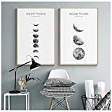 DMPro Prints Pictures Nordic Home Wall Artwork Abstract Style Modular Poster Moon Phases Painting On Canvas Living Room Decoration45x60cm No Framex2