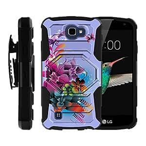 LG K4 Case, Optimus Zone 3 Case, Spree Cover, Rebel LTE Case, [Armor Reloaded] Heavy Duty Kickstand + Swivel Holster Clip by Miniturtle - Purple Flowers