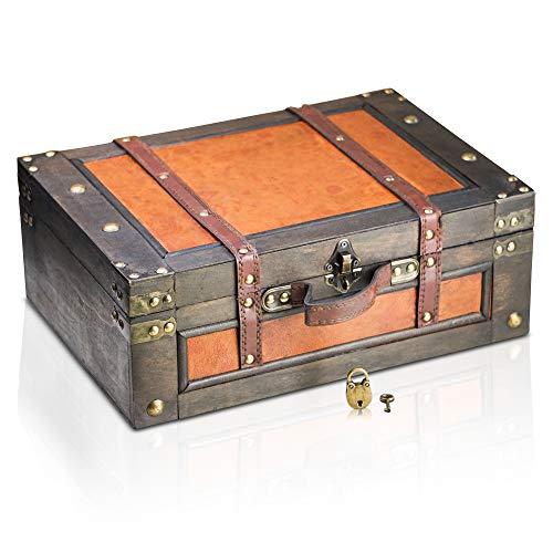 Brynnberg Schatztruhe Verschließbar 38x27x14cm - Deko Koffer Antik, Große Schatzkiste, Braun, Mit Schloss Piratenkiste, Aufbewahrungsbox
