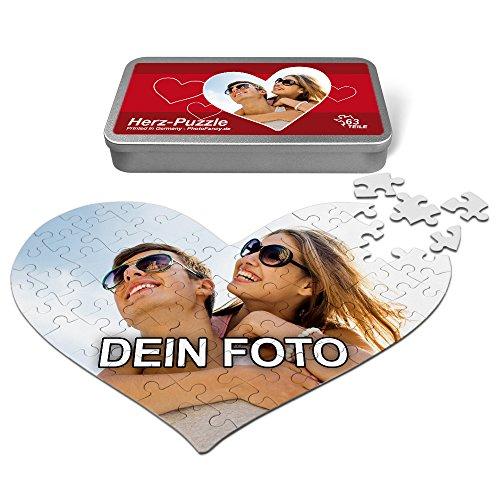 PhotoFancy® - Herz Liebes Puzzle mit Foto bedrucken lassen - Fotopuzzle in Herzform mit eigenem Bild personalisieren (63 Teile (A4)) - Foto Puzzle
