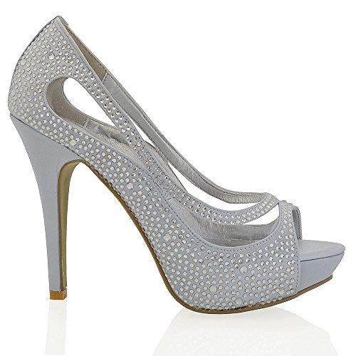 Essex glam scarpa sposa peep toe argento satinato diamante tacco alto plateau eu 38