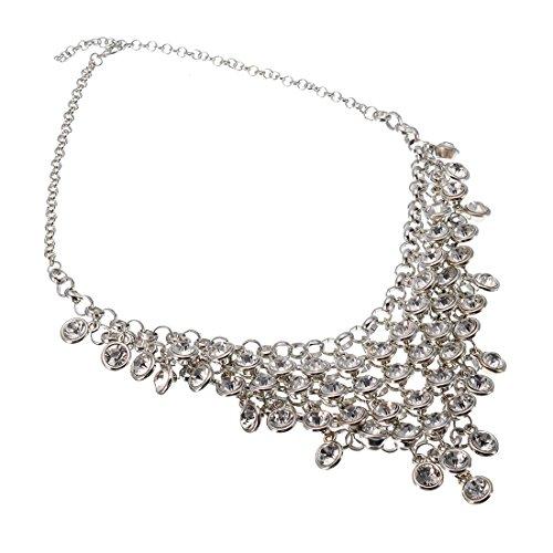 Jerollin Wunderschoene Damen Vintage Halskette Necklace Choker Collar Halsreif mit Rheinstein-Anhängern Stein-Strauss Weisse Kette Statement Ketten (Mutter Der Bräutigam-anhänger)