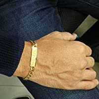 Personalized Men's Gourmet Bracelet 18K Gold Plated Engraved Name plate gift for men