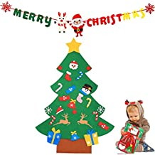 Cozywind DIY Arbol de Navidad de Fieltro con Banners Navidad Adornos Desmontables Año Regalo para Niños