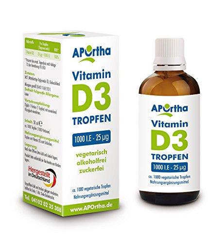 APOrtha Vitamin D3 1000 I.E - 25 µg, natürliche, vegetarische Tropfen zur Nahrungsergänzung, 50ml