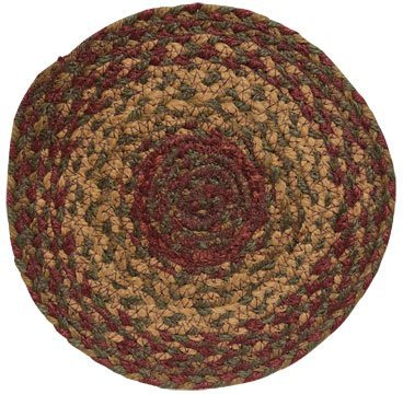 Cinnamon Braided Jute Trivet Candle Mat Country Red Tan Brown Olive Green Primitive Home Décor by BCD (Cor Olive)