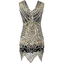 Robe Femmes 1920 Art Déco diamant Paisley sequins Flapper frangée panicule Glam Party