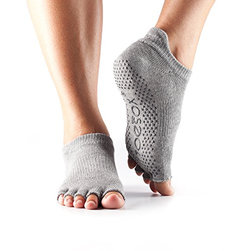 ToeSox Half Toe Low Rise Yoga-Socken, Unisex Erwachsene S Grau (Heather Grey)