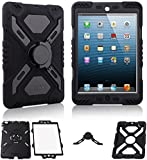 Multi Function Silicone Waterproof Shockproof Dustproof Rugged Case Cover with Kickstand and Sticker for Apple iPad 2/3/4 Color Black