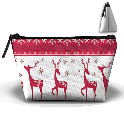 Christmas Snow Deer Personality Portable Women Trapezoid Travel Bag Cosmetic Bag Receive Bag Womens Snow Flower