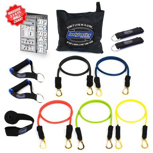 Bodylastics 12 pcs Snap Guard Resistance Bands Set with 5 Stackable anti-snap exercise tubes, Heavy Duty components, carrying case, and printed instructions for the top muscle building exercises by Bodylastics