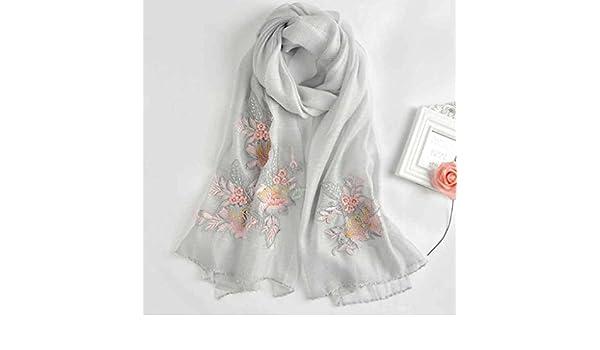 bcddb5e8266 SAN QIAN WAN- Echarpe brodée en soie femme Lady élégante broderie châle  Longue section de foulard féminin pour augmenter le châle 200x75cm Écharpe  (Couleur ...