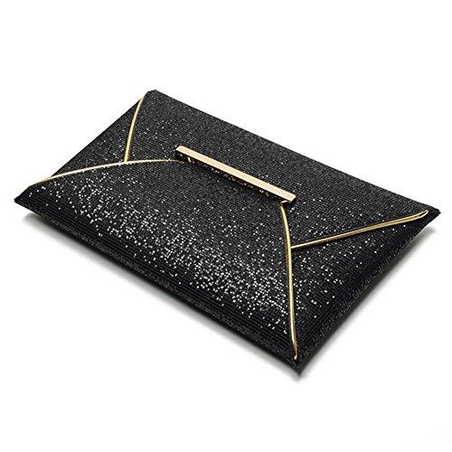 Highdas Partito Charme sera delle donne Borse Sequins dell'oro del modello borsa frizione Borse Busta lucida Solid Gold Nero