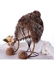 Qiaoba- Warm WINTER HAT filles élégantes en laine de lapin Knitting Hat
