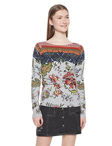 Desigual Damen Pullover JERS_Chintz, Grau (Gris Vigore Claro 2042), X-Large