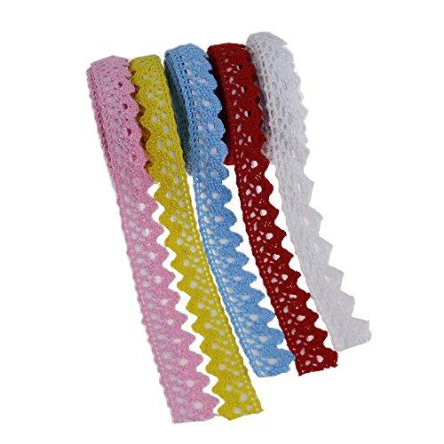 Craft Spitze Klebeband Dekorative Sticky Selbstklebend Spitze Baumwolle 10Meter für Scrapbooking DIY Weiß Gelb Pink Rot Blau