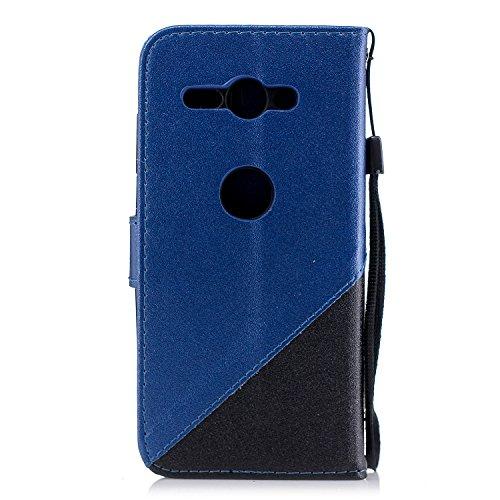 Coque Sony Xperia XZ2 Compact,Etui Sony Xperia XZ2 Compact,Surakey Sony Xperia XZ2 Compact Cuir PU Housse à Rabat Portefeuille Étui Flip Case Folio à Clapet Stand de Fermeture magnétique, Noir+Bleu