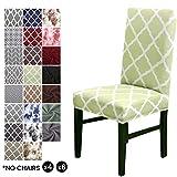 Cubierta para silla LiveGo, paquete de 4 cubiertas para silla de comedor elástica Silla con respaldo alto Funda protectora Funda protectora para silla, Green+White