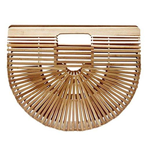 Henkeltaschen, Damen Handgelenkstaschen Bambus Handtasche Handgefertigt Große Taschen Strandtaschen Strand Umhängetasche Shopper 32cmx10cmx27cm (Beige)