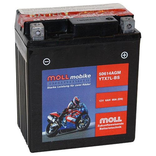 Moll mobike AGM Motorradbatterie YTX7L-BS 6Ah 12V 80A - 50614