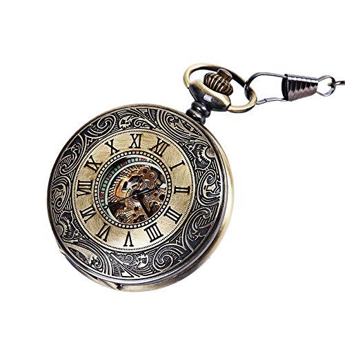 MXXTL Bronze-Carving Spitze RöMische Waage Hohlen Nachtlicht Taschenuhr Gold Maschine