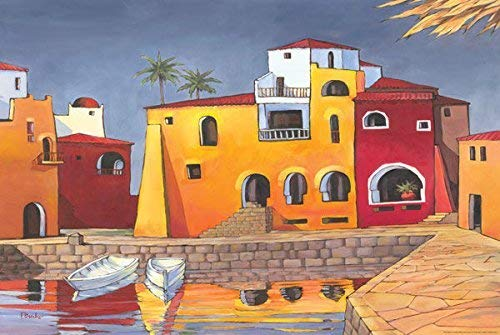 Rahmen-Kunst Keilrahmen-Bild - Paul Brent: Puerto Del Mar I Leinwandbild Küste Häuser Hafen Bunt (80x120)
