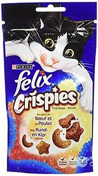 Felix Crispies Friandises pour chat B½uf & Poulet 45 g - Lot de 8