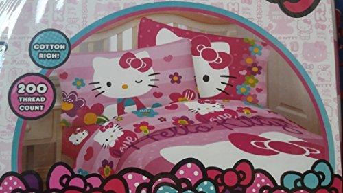 Set Kitty Twin Hello Sheet (Hello Kitty Garden of Love Twin Sheet Set ( Twin ) by Hello Kitty)