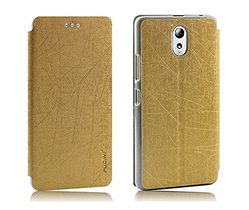 GoRogue Pudini Rain PU Leather Slim Flip Cover Case with Convertible Back Stand for Lenovo P1m (Gold)  available at amazon for Rs.199