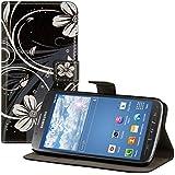 kwmobile Hülle für Samsung Galaxy S4 Active i9295 - Wallet Case Handy Schutzhülle Kunstleder - Handycover Klapphülle mit Kartenfach und Ständer Blumen Swirl Design Weiß Schwarz