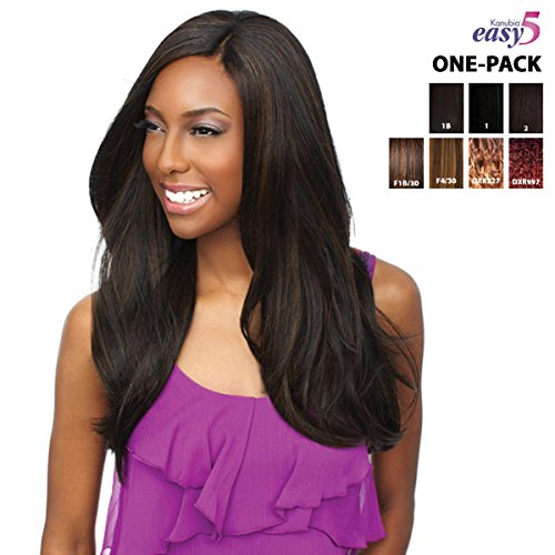 [4 Wefts Complete Set] Sensationnel ELYSEE Wave - EASY 5 (KANUBIA-HRF) - Weave One Pack Solution - Braid / Weave Extension (1B (natural black))