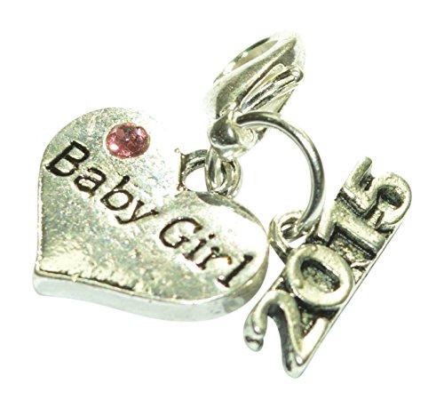 Baby Girl 2015Clip auf Charme mit rosa Geschenkbeutel oder Rosa Geschenkbox handgefertigt von Libby 's Market Place, metall, mehrfarbig, Pink Gift Bag (Girls Clip Auf Charme)