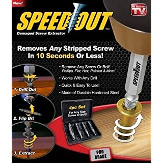 SystemsEleven Speed Out 4pc Damaged Screw Extractor Use With Any Drill As Seen On TV SpeedOut