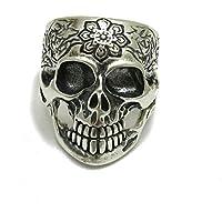 Anillo plata de ley sólido 925 Cráneo con flor R001161