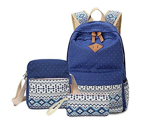 Alando Casual Canvas Schulrucksack Set+Schultertasche +Geldbeutel/Mäppchen Causal Rucksack Freizeitrucksack Daypacks Backpack für Mädchen Jungen & Kinder Jugendliche Damen Herren (Vintage-Blau)