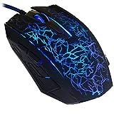 reetec Wired Maus Ergonomische optische USB Gaming Mäuse mit 4DPI-Einstellungen bis zu 2400, LED Hintergrundbeleuchtung für Laptop PC Computer Gamer