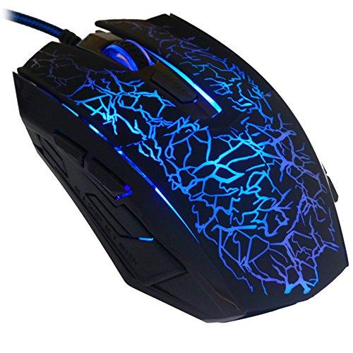 reetec Wired Maus Ergonomische optische USB Gaming Mäuse mit 4DPI-Einstellungen bis zu 2400, LED Hintergrundbeleuchtung für Laptop PC Computer Gamer (1200 Microsoft-punkte)