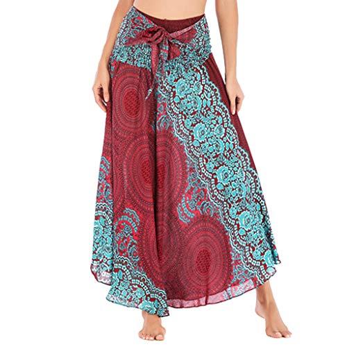 Rawdah_Faldas Mujer Largas Elegantes Faldas Mujer Cortas Verano Fiesta Originales Mujer Hippie Bohemia Gitana Boho Flores Elástico Cintura Floral Halter Falda