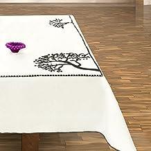 Blanco Negro Mantel Mantel algodón Diseño Algodón patrón Árbol árboles bordado elegante Práctico Fácil de Limpiar