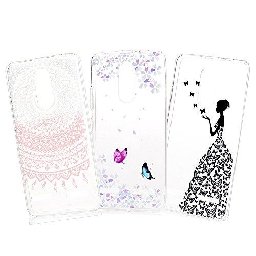 YOKIRIN Lenovo K6 Crystal Case 3X Ultra Slim Hülle Handytasche Etui Schutzhülle TPU Silikon Case Cover Handyhüll Handycase Tasche Transparent Bunte Schmetterling Mädchen