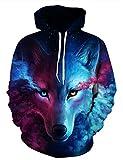 Unisex 3D Digital Druck Bunte Kapuzenpullover Hoodie Langarm Damen Und Herren Cartoon Weihnachten Halloween Sweatshirt Pullover (S / M (Brustumfang: 108-128CM), Wolfskopf)
